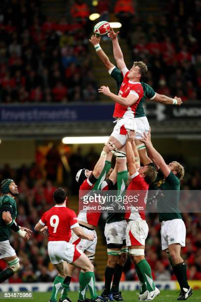 Wales' Ian Evans wins a line out during the Invesco Perpetual Autumn Series match at the Millennium Stadium Cardiff