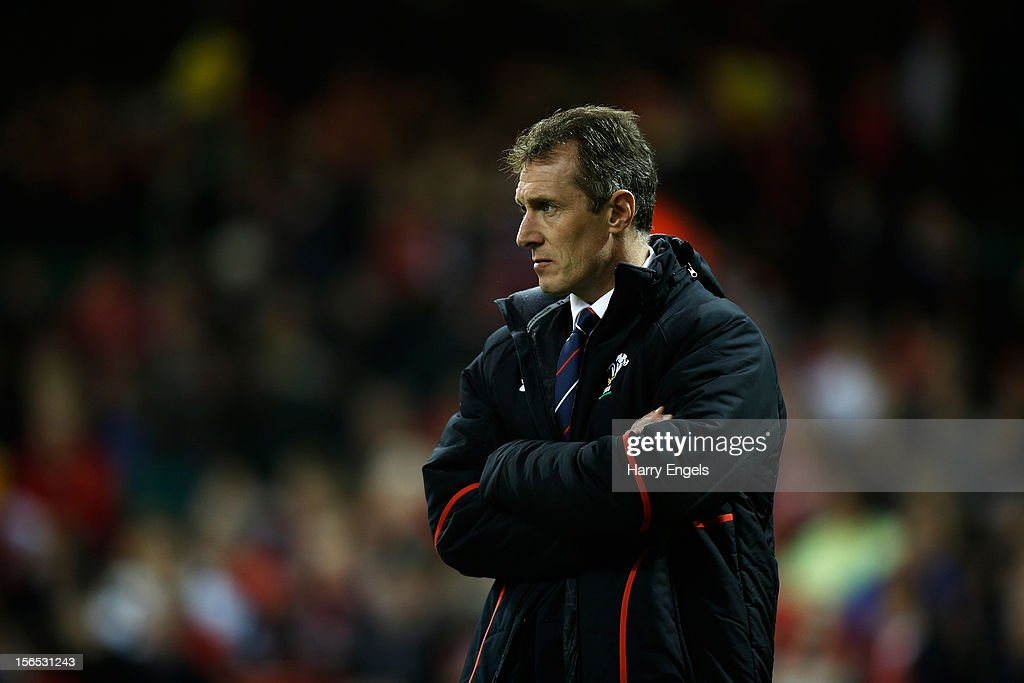 Wales interim coach <a gi-track='captionPersonalityLinkClicked' href=/galleries/search?phrase=Rob+Howley&family=editorial&specificpeople=215419 ng-click='$event.stopPropagation()'>Rob Howley</a> looks on prior to the international match between Wales and Samoa at the Millennium Stadium on November 16, 2012 in Cardiff, Wales.