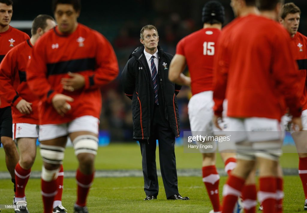 Wales interim coach Rob Howley looks on prior to the international match between Wales and Samoa at the Millennium Stadium on November 16, 2012 in Cardiff, Wales.