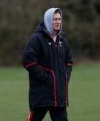 Wales interim head coach Rob Howley looks on during a Wales training session at the Vale on March 12 2013 in Cardiff Wales