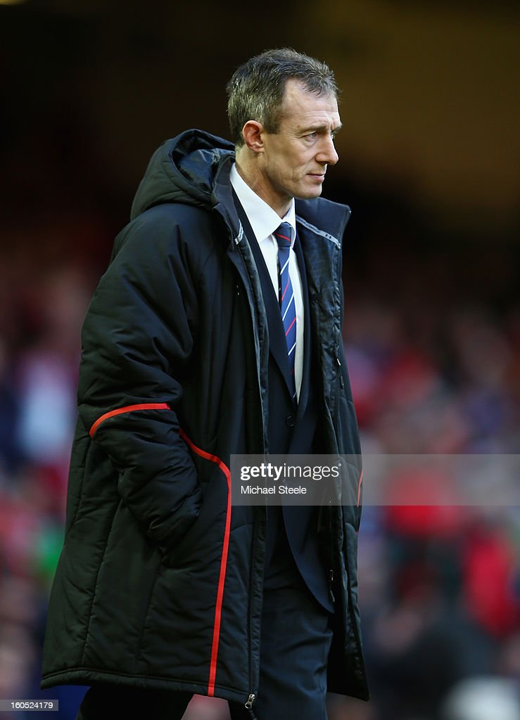 Wales Interim Head Coach Rob Howley looks on prior to the RBS Six Nations match between Wales and Ireland at the Millennium Stadium on February 2, 2013 in Cardiff, Wales.