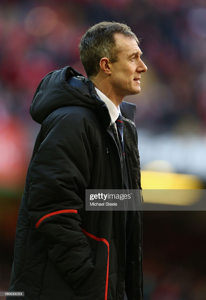 Wales Interim Head Coach <a gi-track='captionPersonalityLinkClicked' href=/galleries/search?phrase=Rob+Howley&family=editorial&specificpeople=215419 ng-click='$event.stopPropagation()'>Rob Howley</a> looks on prior to the RBS Six Nations match between Wales and Ireland at the Millennium Stadium on February 2, 2013 in Cardiff, Wales.