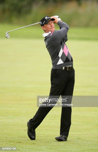 Wales' Jamie Donaldson on the first fairway during the Barclays Scottish Open at Loch Lomond Scotland