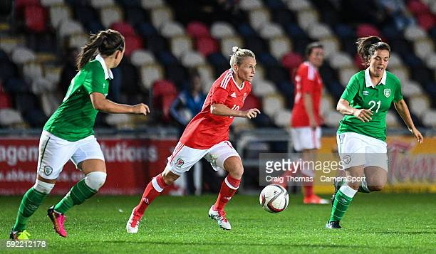Wales Jess Fishlock in action during the Women's B International Friendly Challenge match between Wales and Republic of Ireland at Rodney Parade on...