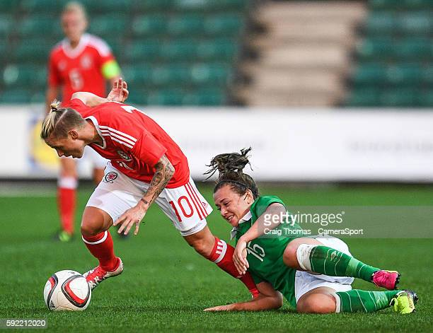 Wales Jess Fishlock under pressure from Irelands Katie McCabe during the Women's B International Friendly Challenge match between Wales and Republic...