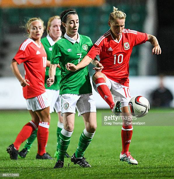 Wales Jess Fishlock under pressure from Irelands Roma McLaughlin during the Women's B International Friendly Challenge match between Wales and...