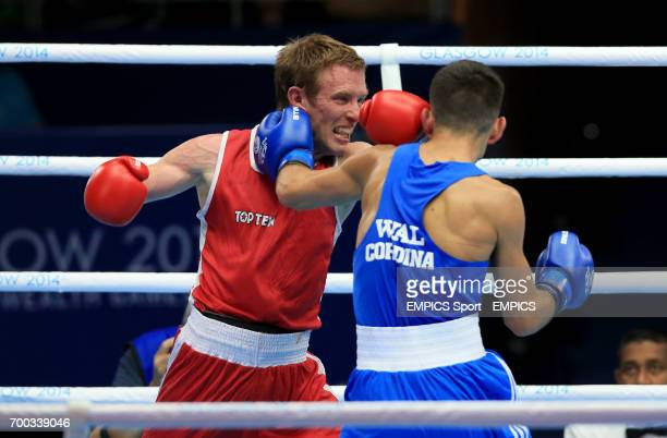 Wales' Joseph Cordina in action against Canada's David Gauthier in the Men's Light Round of 16