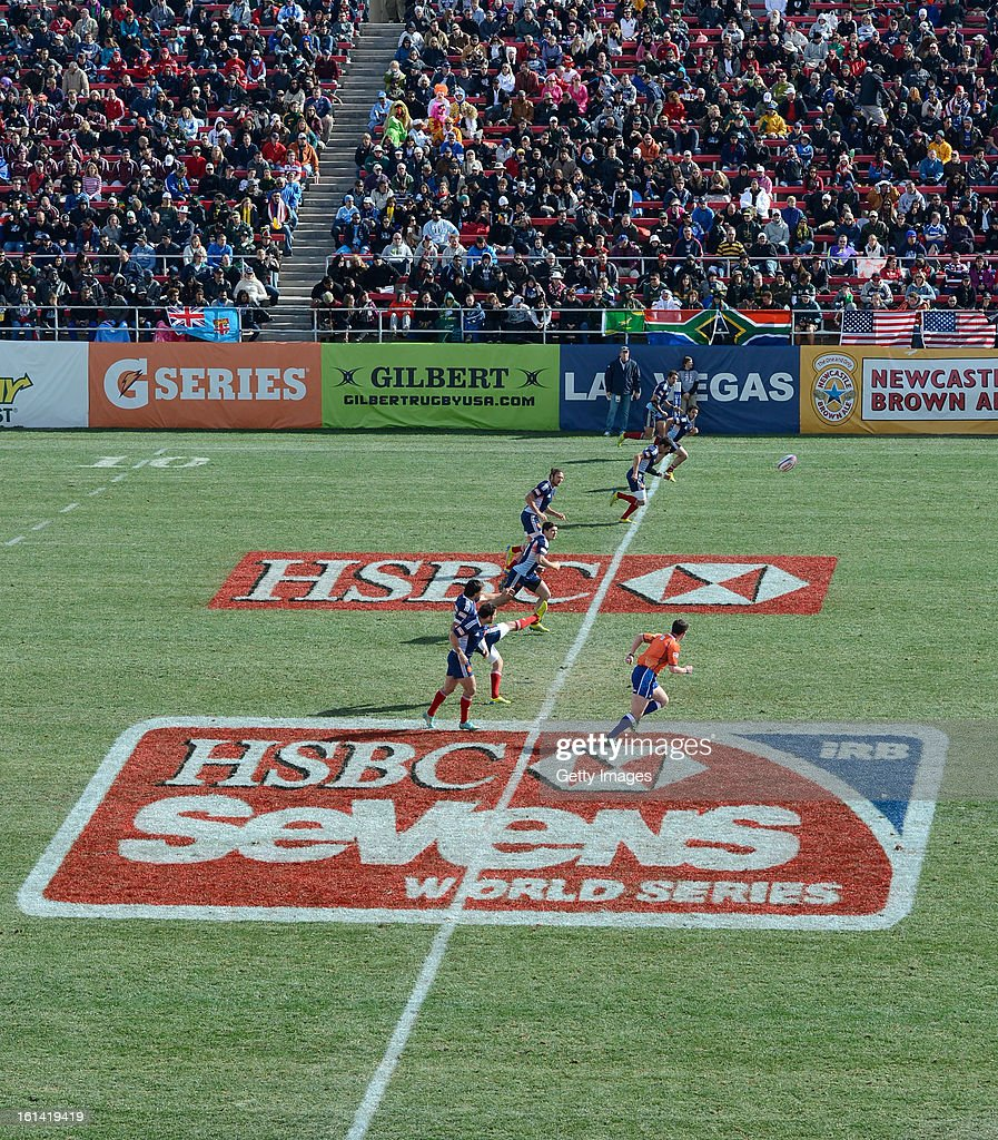 Wales kicks off against Scotland during day three of the USA Sevens Rugby at Sam Boyd Stadium on February 10, 2013 in Las Vegas, Nevada.