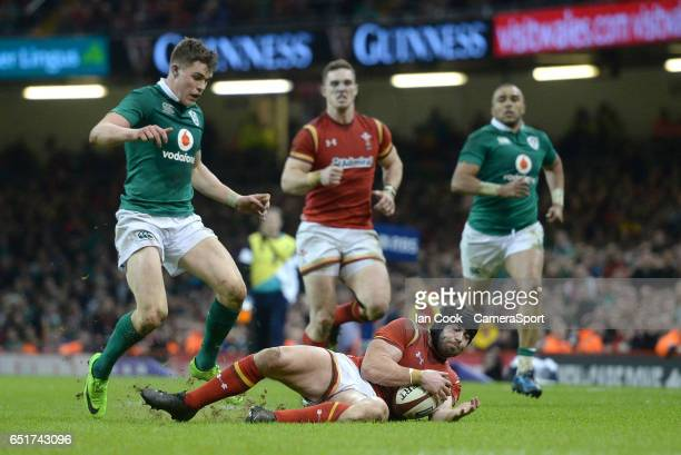 Wales' Leigh Halfpenny collects the loose ball during the RBS Six Nations Championship match between Wales and Ireland at Principality Stadium on...