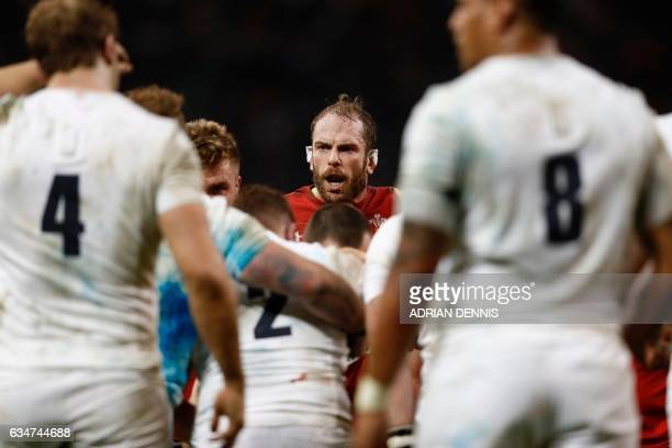 TOPSHOT Wales' lock Alun Wyn Jones is seen during the Six Nations international rugby union match between Wales and England at the Principality...