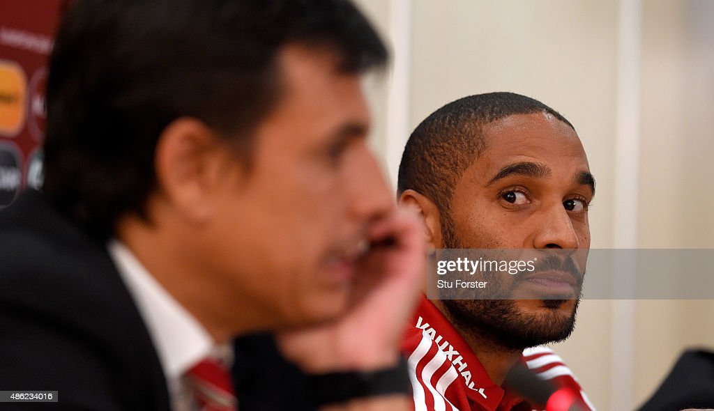Wales manager Chris Coleman and captain Ashley Williams face the press at the pre match press conference at the GSP Stadium on September 2 2015 in...