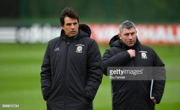 Wales manager Chris Coleman and Osian Roberts look on during a Wales Open Training session ahead of their World Cup Qualifier against the Republic of...