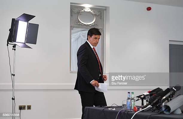 Wales manager Chris Coleman arrives with his squad list for the announcement of the Wales squad for the 2016 European Championships at Hensol Castle...