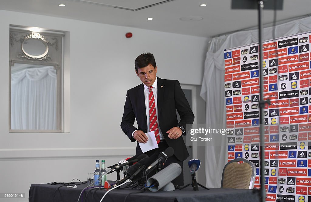 Wales manager Chris Coleman arrives with his squad list for the announcement of the Wales squad for the 2016 European Championships at Hensol Castle on May 31, 2016 in Cardiff, Wales.