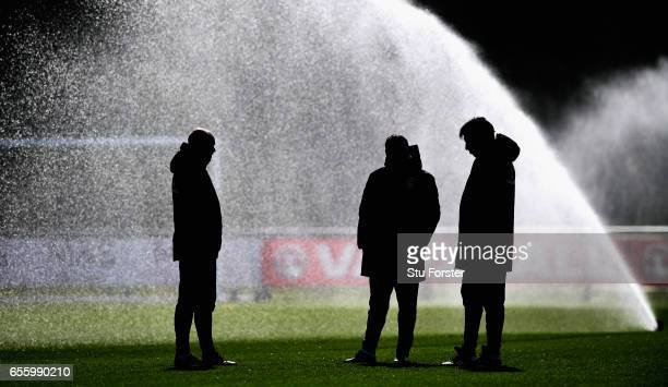 Wales manager Chris Coleman chats with his coaches before a Wales Open Training session ahead of their World Cup Qualifier against the Republic of...