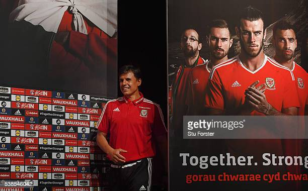 Wales manager Chris Coleman faces the media at a press conference at the Wales Euro 2016 press centre on June 7 2016 in Dinard France