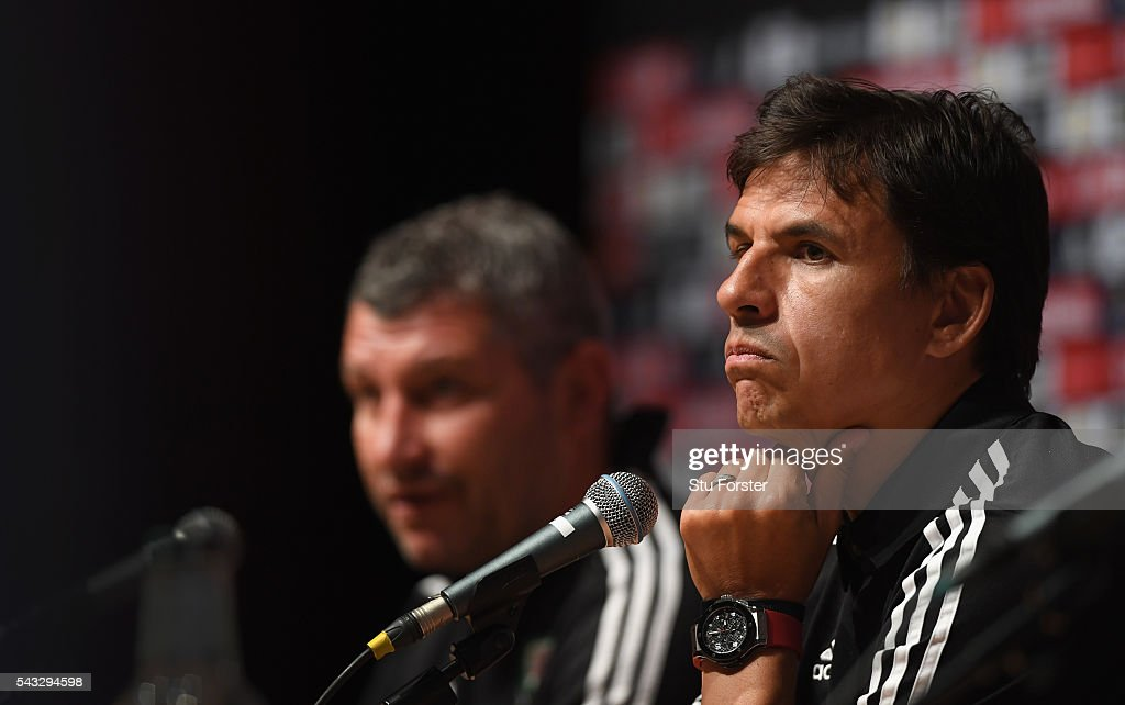 Wales manager Chris Coleman faces the media during a Wales press conference at their Dinard base camp ahead of their Euro 2016 match against Belguim on June 27, 2016 in Dinard, France.