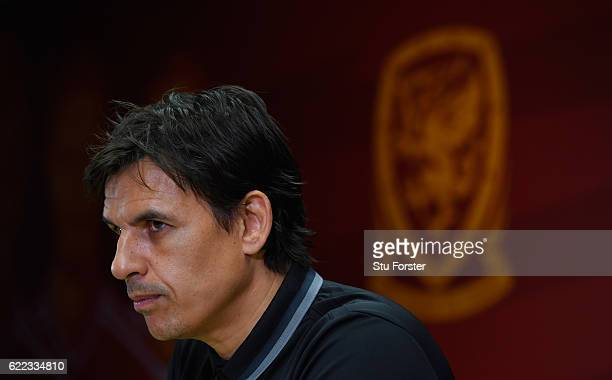 Wales manager Chris Coleman faces the media prior to the FIFA 2018 World Cp qualifier against Serbia at Cardiff City Stadium on November 11 2016 in...