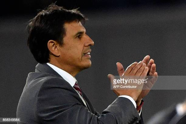 Wales' manager Chris Coleman follows the game from the touchline during the FIFA World Cup 2018 qualification football match between Georgia and...