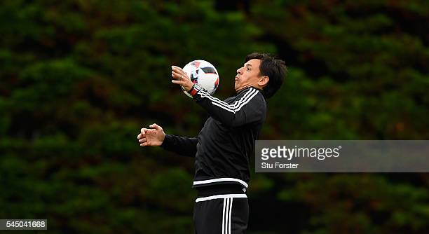 Wales manager Chris Coleman in action during Wales training ahead of their UEFA Euro 2016 Semi final against Portugal at College Le Bocage on July 5...