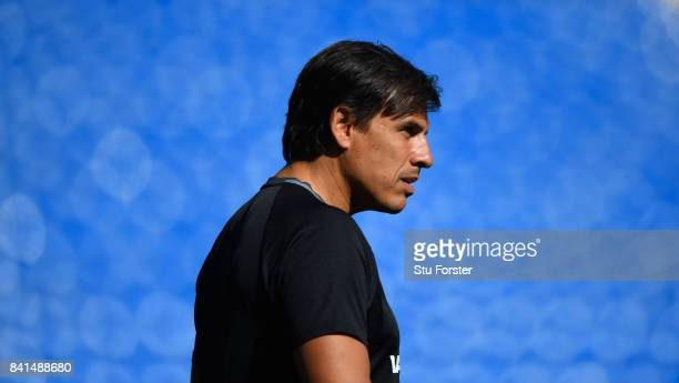 Wales manager Chris Coleman looks on during Wales training ahead of their FIFA 2018 World Cup Qualifier against Austria at Cardiff City Stadium on...