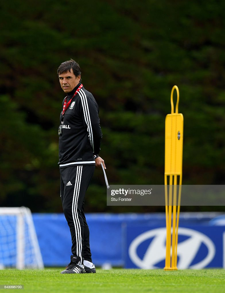 Wales manager Chris Coleman looks on during Wales training at their Euro 2016 base camp ahead of their Quarter Final match against Belguim, on June 28, 2016 in Dinard, France.