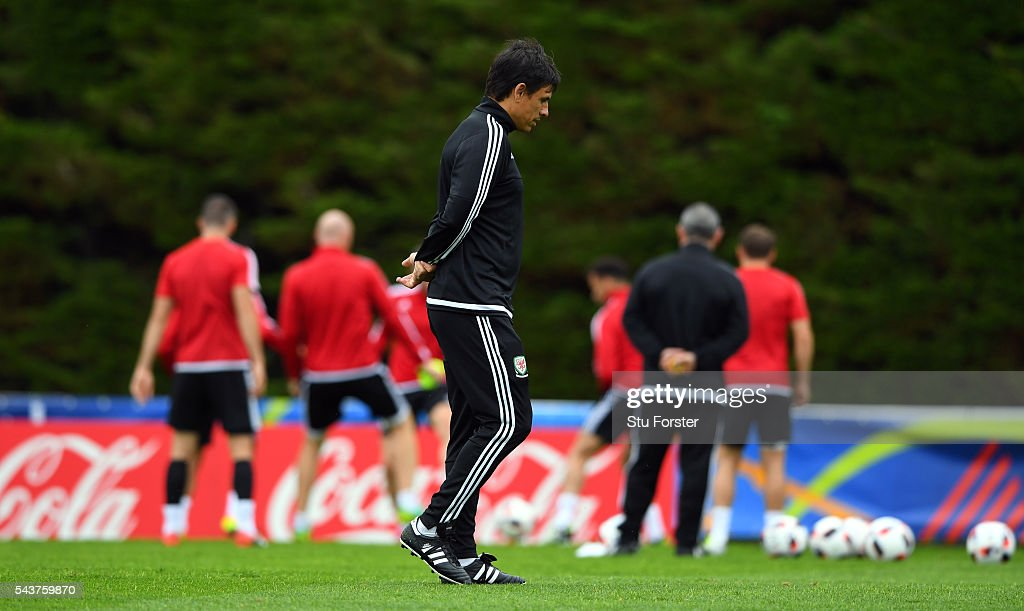Wales manager Chris Coleman looks on during Wales training session ahead of their Euro 2016 quarter final match against Belgium at their base camp on June 30, 2016 in Lille, France.