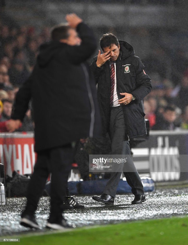 Wales manager Chris Coleman reacts during the International Friendly match between Wales and Panama at Cardiff City Stadium on November 14, 2017 in Cardiff, Wales.