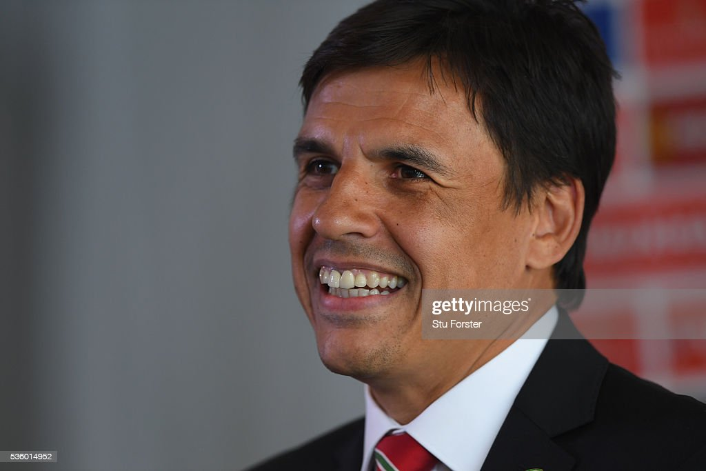 Wales manager Chris Coleman speaks to the media at the announcement of the Wales squad for the 2016 European Championships at Hensol Castle on May 31, 2016 in Cardiff, Wales.