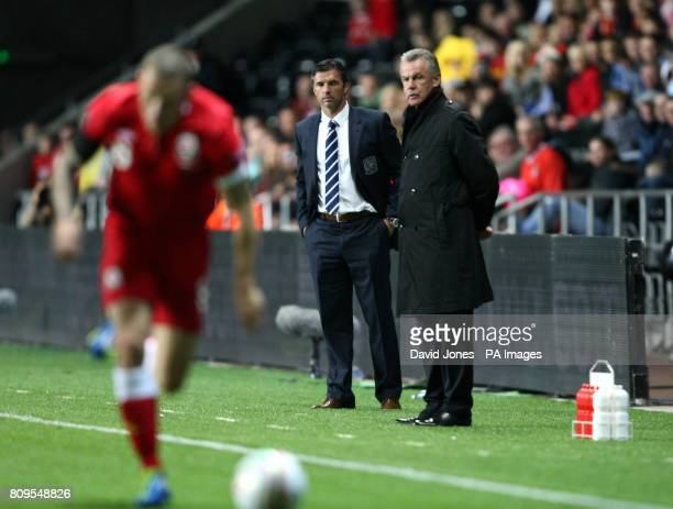 Wales' manager Gary Speed and Switzerland's manager Ottmar Hitzfeld during the Euro 2012 Group G Qualifying match at the Liberty Stadium Swansea