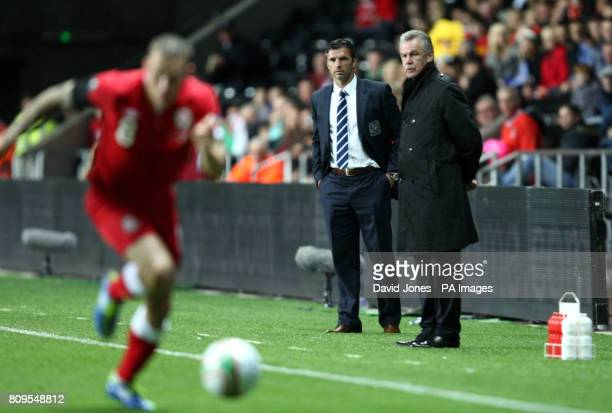 Wales' Manager Gary Speed and Switzerland's Ottmar Hitzfeld during the Euro 2012 Group G Qualifying match at the Liberty Stadium Swansea
