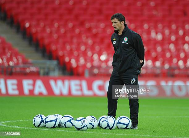 Wales manager Gary Speed during the Wales training session ahead of their UEFA EURO 2012 Group G qualifier against England at Wembley Stadium on...