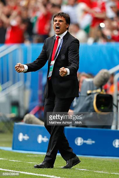 Wales Manager / Head Coach Chris Coleman celebrates his team's first goal during the UEFA EURO 2016 Group B match between Wales and Slovakia at Stade...