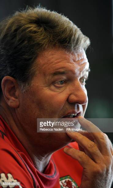 Wales manager John Toshack during a press conference at the team hotel in Rimini Italy