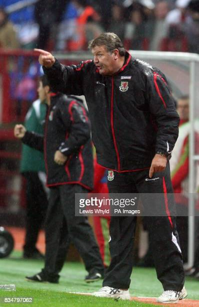 Wales' manager John Toshack shouts to his team during the World Cup Qualifying match at the Lokomotiv Stadium Moscow Russia