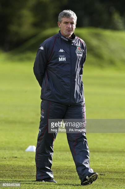 Wales' Manager Mark Hughes at training in Cardiff before playing England in World Cup Qualifier at Old Trafford Manchester THIS PICTURE CAN ONLY BE...