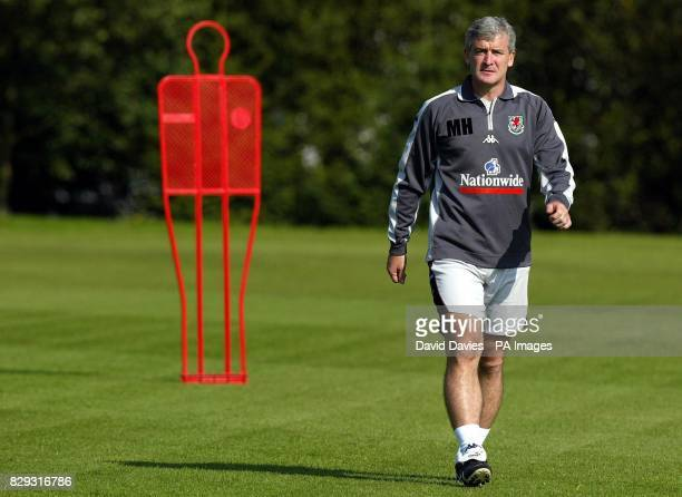 Wales manager Mark Hughes during training at the University of Glamorgan playing fields ahead of the World Cup Qualifier against Northern Ireland in...