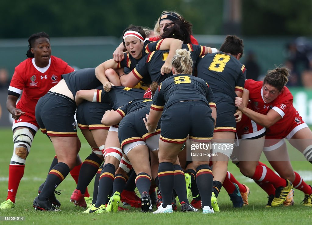 Wales maul the ball during the Women's Rugby World Cup 2017 match between Canada and Wales on August 13, 2017 in Dublin, Ireland.