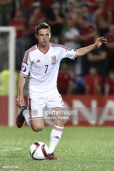Wales midfielder Joe Allen during the Euro 2016 qualifying round football match Andorra vs Wales on September 9 2014 at the Municipal Stadium in...