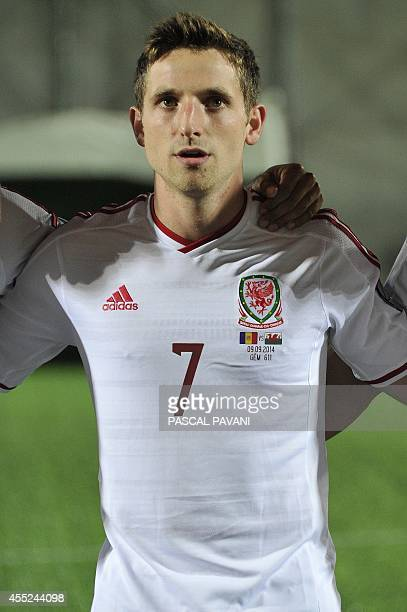 Wales' midfielder Joe Allen during the Euro 2016 qualifying round football match Andorra vs Wales on September 9 2014 at the Municipal Stadium in...