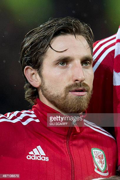 Wales' midfielder Joe Allen lines up ahead of the international friendly football match between Wales and Netherlands at Cardiff City Stadium in...