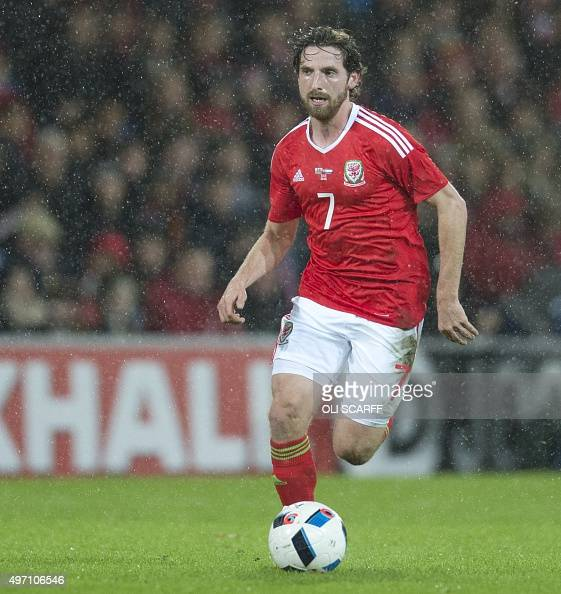 Wales' midfielder Joe Allen runs with the ball during the international friendly football match between Wales and Netherlands at Cardiff City Stadium...