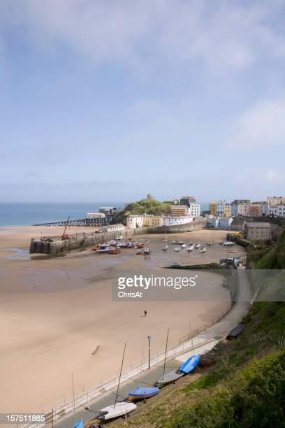 UK, Wales, Pembrokeshire, Tenby, harbour view, low tide