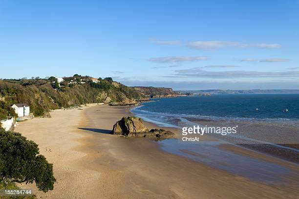UK, Wales, Pembrokeshire, winter sunshine on North Beach, Tenby