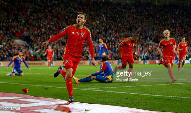Wales player Aaron Ramsey celebrates after scoring the first goal during the UEFA EURO 2016 Group B Qualifier between Wales and Andorra at Cardiff...