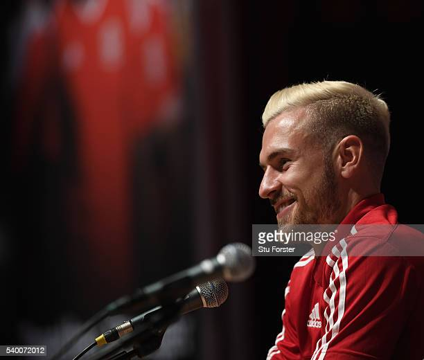 Wales player Aaron Ramsey faces the media during the Wales press conference at their Euro 2016 base on June 14 2016 in Dinard France