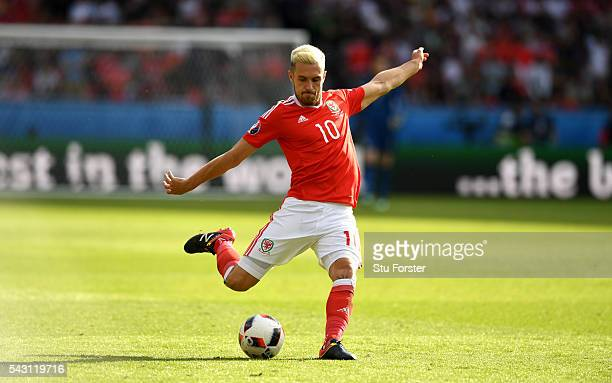 Wales player Aaron Ramsey in action during the Round of 16 UEFA Euro 2016 match between Wales and Northern Ireland at Parc des Princes on June 25...