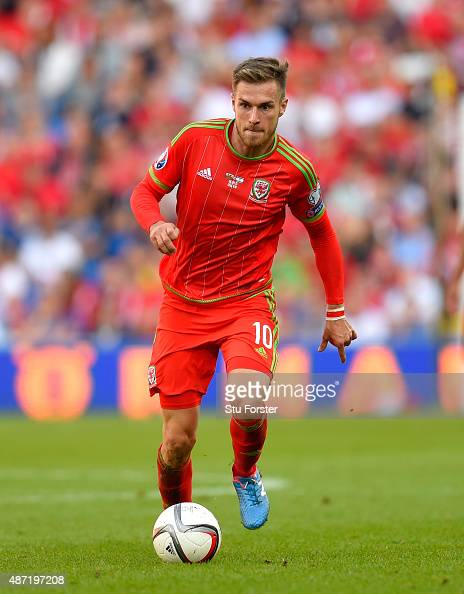 Wales player Aaron Ramsey in action during the UEFA EURO 2016 Qualifier between Wales and Israel at Cardiff City Stadium on September 6 2015 in...