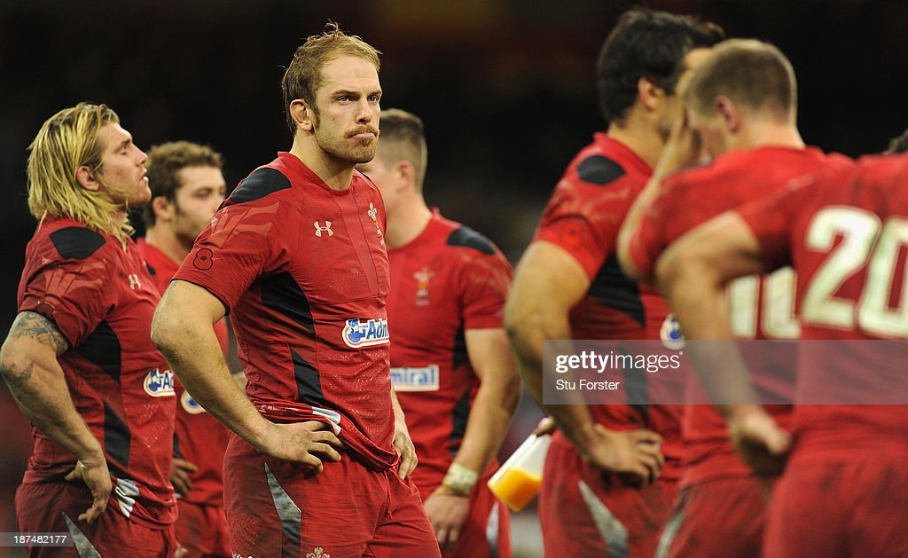 Wales player Alun Wyn Jones (2nd left) reacts after the International Match between Wales and South Africa at the Millennium Stadium on November 9, 2013 in Cardiff, Wales.