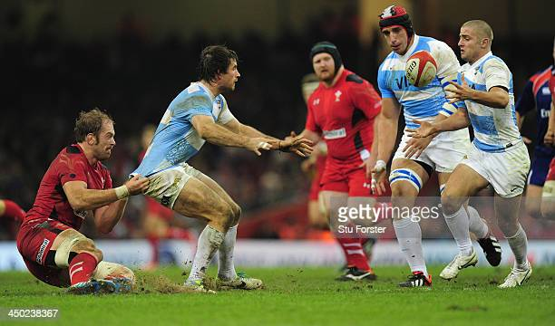 Wales player Alun Wyn Jones tackles Argentina player Lucas Gonzalez Amorosino during the International Match between Wales and Argentina at the...